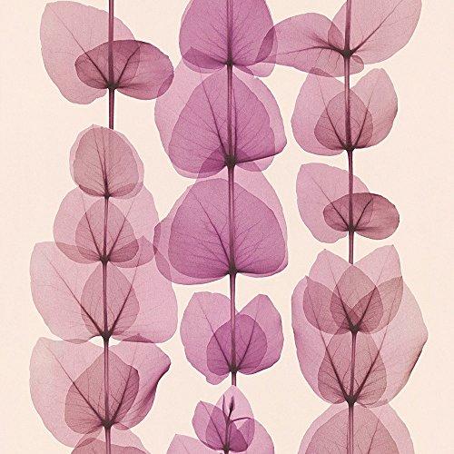 A.S. Création Vliestapete X-Ray Tapete in Röntgen Optik floral 10,05 m x 0,53 m creme metallic lila Made in Germany 342453 34245-3 - Floral Faser-optik