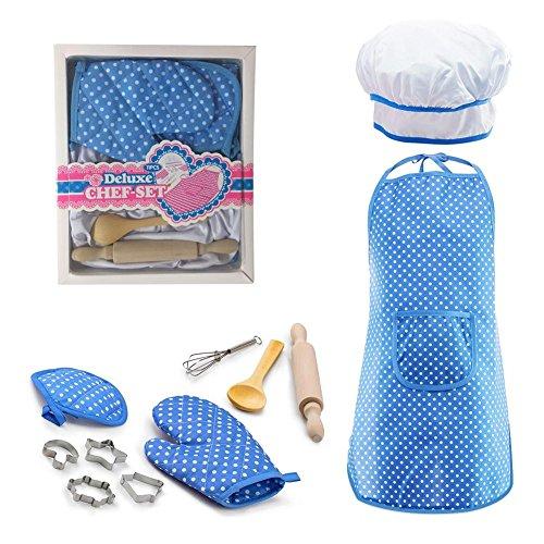 Lembeauty 11-teiliges Set zum Kochen und Backen für Kinder, inklusive Schürze, Kochmütze, Handschuh und Utensilien und anderem Zubehör für Kleinkinder, Kostüm, Karriere, Rollenspiele blau (Kleinkinder Koch Kostüme Für)