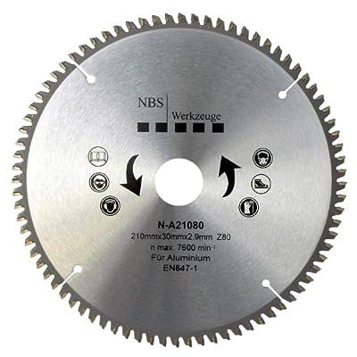NBS Werkzeuge HM Hartmetall Kreissägeblatt 210 x 30 x 80 Zähne, für Aluminium, Kunststoff, NE-Metalle