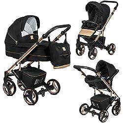 Poussette Combinée Trio 3 en 1 Neri Edition Exclusive RoseGold Noir - Landau, poussette promenade, siège auto Groupe 0+ - Livrée avec ses accessoires.