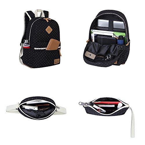 Schulrucksack Mädchen Canvas Rucksack Damen Schul Schulranzen/Schultasche 3 in 1 - 5