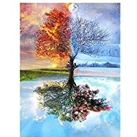 DIY 5D Diamond Painting by Number Kits, Full Drill Crystal Rhinestone Embroidery Pictures Arts Craft for Home Wall Decoration Four Seasons Trees
