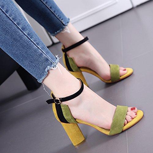 Moda Fibbia periodo di colore del tallone del sandalo donna Tacchi alti Green