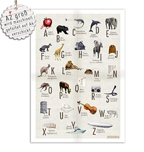 ABC-Poster zum Schulanfang, mehrsprachig (deutsch, englisch) Deko Collage im Kinderzimmer Plakat, Wanddeko für Junge, Mädchen und Erwachsene, Vintage, Beige, A2 groß, gefaltet auf A4