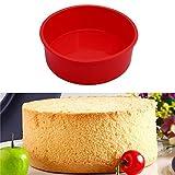Wokee Silikon Boden, Kuchenform Rund, 6 '' Runde Rote Silikon Kuchenform Pan Muffin Pizza Gebäck Backform mit Antihaftbeschichtung