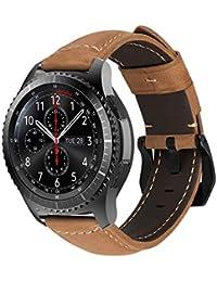 MroTech Correa Piel de Reloj 22mm para Gear S3 Frontier/Classic, 22 mm Correa Cuero Genuino Pulsera de Repuesto para Galaxy Watch 46mm, Pebble Time, Moto 360 2 46mm, Huawei Watch 2 Classic (Khaki)