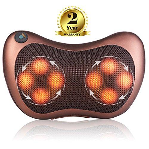 Shiatsu Tiefer Massagekissen für Nacken /Rücken/ Taille/ Schulter mit mit Wärm-und Licht Funktion, 3D Rotation Massager mit Waschbares Tuch für...