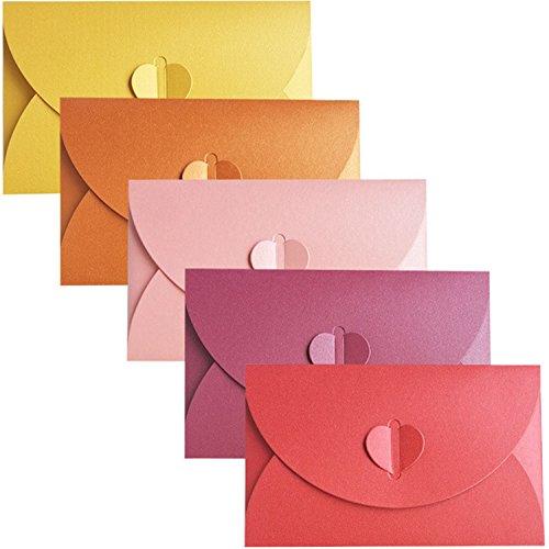 apier Umschlag,Postkarte Umschlag,Kreative retro niedlichen herzförmigen Umschlag, für Hochzeit, Geburtstagsfeier Geschenk liefert,5 Farben,(17.5cmx11.5cm) (Candy colors) ()