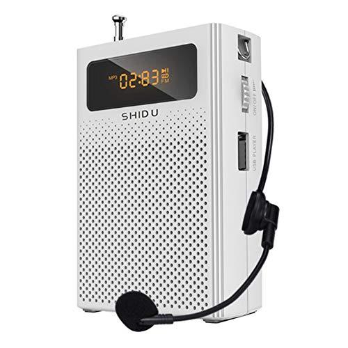 Sprachverstärker mit Kabel Mikrofon Headset und Taillenband, tragbarer Lautsprecher Mini Pa System, unterstützt MP3/TF/USB/FM für Lehrer, Singen, Training, Tourguide weiß -