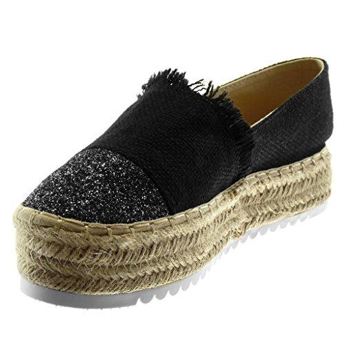 on Geflochten Schuhe Damen Keilabsatz Angkorly Slip Espadrilles Heel cm High Seil Flexible Glitzer Plateauschuhe Schwarz 4 qTIwqx