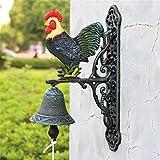 Wuxingqing Campanello per Porte in Ghisa Fusioni Decorazioni in Ferro Gallo Campanello della Parete della casa della Decorazione del Giardino Campana per Cena da Esterno per Interno