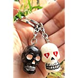 Blue Aura Set Of 2 ( BLACK & WHITE ) PVC Skull Keychain Collectible Gifting Bike Keychain Car Keychain