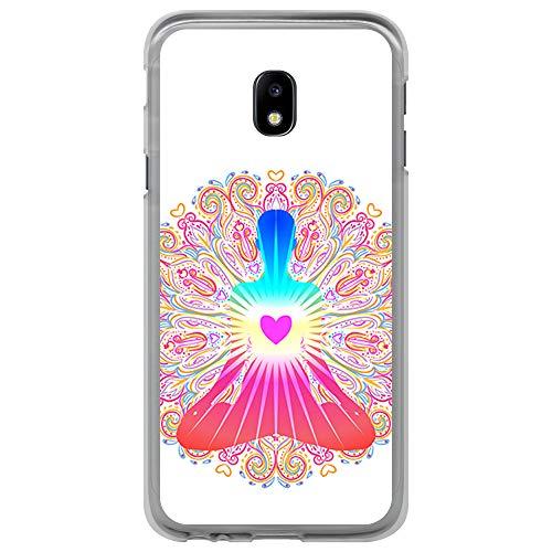 BJJ SHOP Transparent Hülle für [ Samsung Galaxy J3 2017 ], Flexible Silikonhülle, Design: Chakra Kunst, Buddhismus, innerer Frieden