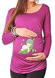 bellytime DarkPink, Erbse 6, 38, Umstands T-Shirt/Schwangerschafts T-Shirt, Bedrucktes Shirt für Die Werdende Mutter, Tolles Geschenk, Witzig, liebevoll