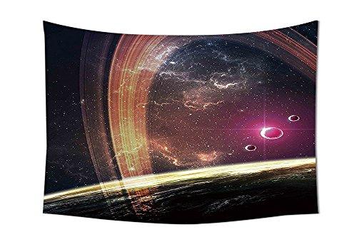 Galaxy Wandteppich für Deep Space Planeten über Nebel Staub Sterne und Halo Ring Science Fiction Kunstdruck Schlafzimmer Wohnzimmer Wohnheim Decor Magenta Mauve, multi, 10W By 8L Inch (Gold ägyptischen Ring)