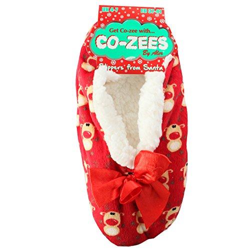 Co-Zees , Damen Hausschuhe Rot Rentier
