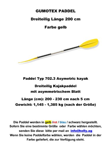 Remo Tipo 702.3Asymetric Kayak Descripción del producto Tres piezas Kayak Paddle con asimétrico hojas Longitud (cm): 200-230cm después de 5cm Peso: 1,145-1,385kg (según el tamaño) remo disponibles colores: azul-amarillo-rojo-negro