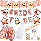 MMTX Hen Party Décorations Bride to BE Bannière Or Rose Ballons pour Bachelorette Fête,Confetti Ballons Satin Ceinture Voile de mariéeTatouages temporaires Badge pour Hen Night Mariage fête