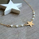Estrella de oro personalizada y collar de piedras lunares, collar de estrella, collar de piedra de luna, joyería celeste, regalo de navidad, regalo de cumpleaños