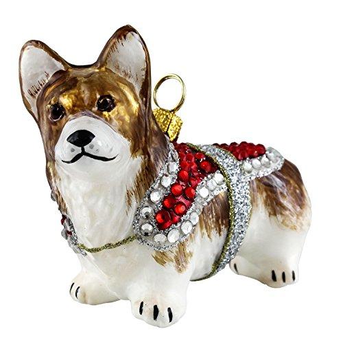 Joy to the World Pembroke Welsh Corgi in Crystal Coat Polish Blown Glass Christmas Ornament -
