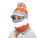 HAOLIEQUAN Comforable Damen Damen Wintermützen Knit Warmhat Conjoined Cap Hat Set Wintermützen Für Damen Mütze Femme Hiver, Grau