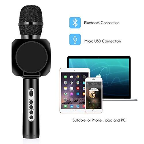 Drahtlose Bluetooth Karaoke Mikrofon Lautsprecher HURRISE Echo Rauschunterdrückung Mikrofon mit Aufnahme von Sprach für Smartphone iPad PC (Schwarz) - 5