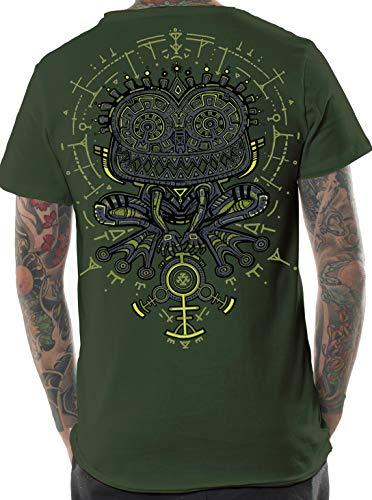 Herren Psychodelisches T-Shirt Psycho Kröte Grafik Psi Trance Hypnotisch Druck Olive Oberteil XXL