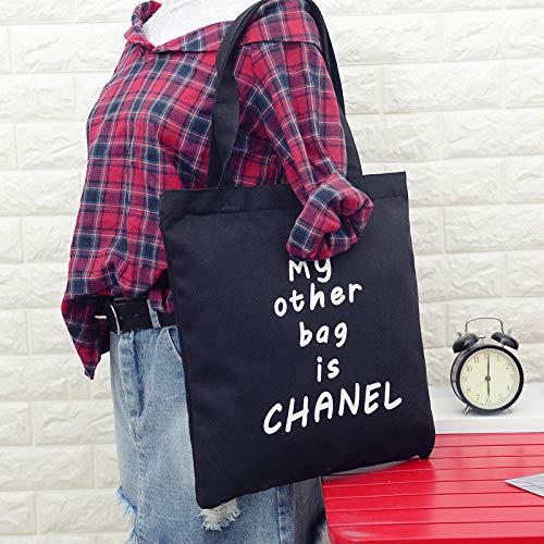 ZoraQ Weiblich meine andere Tasche ist Chanel Leinwand Umhängetasche einfache leichte Datei Shopping Travel Handtasche (schwarz) (Umhängetasche-datei)