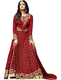 FKART Multi Color Latest Designer Party Wear, Traditional Anarkali Salwar Suit/ Long Gown With Dupatta (Semi-Stitched_Free...