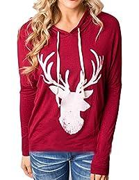 Bluestercool Sweatshirt femmes, manches longues à capuche Noël Elk imprimé dessus