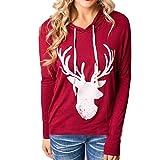 Bluestercool Sweatshirt femmes, manches longues à capuche Noël Elk imprimé dessus (S, Rouge)