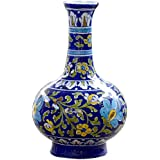 BLUE DECOR Blue Pottery Decorative-Handcrafted & Painted Floral Vase ( SV103 ; Blue )
