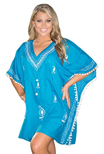 LA LEELA leichte Viskose alle in 1 Tunika-Oberbekleidung Bademode Badeanzug Bikini Sundress Tunika kurz Abendkleid hinreißend Plus Größe Kaftan Bademode Badeanzug Frauen verschleiern