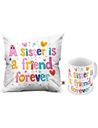 Indigifts Indibni A Sister Is A Friend Forever Coffee Mug And Cushion Set With Filler (12X12,White,Satin)