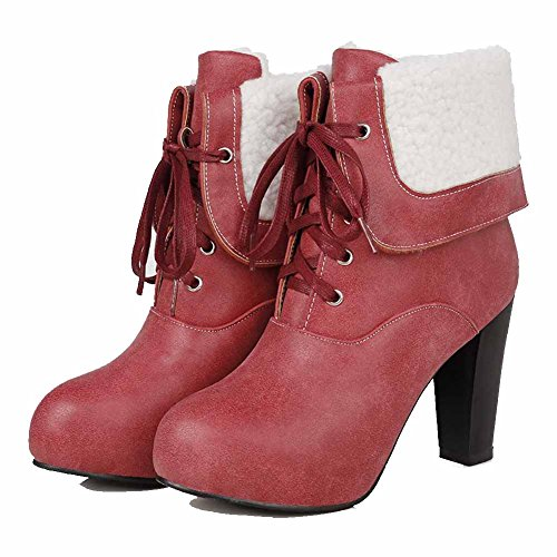 AgooLar Damen Hoher Absatz Niedrig-Spitze Rein Stiefel mit Knoten, Cremefarben, 38