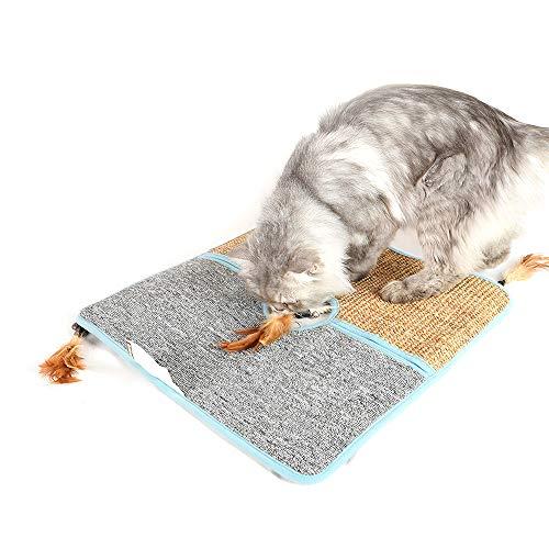 Decdeal Doppelseite Katzen Kratzmatte Sisalteppich Kratzteppich mit Katzen Feder Spielzeug