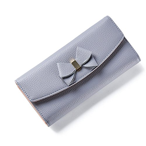 Laoling arco donna portafoglio lungo solido semplice hasp moda sera pochette da donna portafoglio femminile porta carte moneta gray
