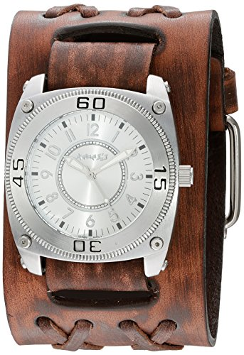 Nemesis Men's 'Mix And Match Series' Quartz Stainless Steel and Leather Automatic Watch, Color:Brown (Model: BVDXB012S)