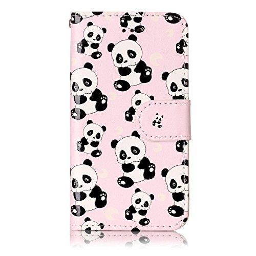 iPod Touch 5 / Touch 6 Hülle, Chreey [Geprägte Muster] Kratzfestes Flip Case Ledertasche Magnet Klapp Etui Handyhülle [Panda] + Brieftasche Kartenfächer Ständer