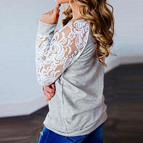 Chemisier printemps automne,Femmes automne printemps Tops Femmes dentelles à la mode dépissage floral O-Neck chemisier T-Shirt Tops Chemisier à manches longues femme en vrac by LHWY (XL)