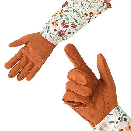 1 paire de longs Gants de jardinage pour femme, doublée Nap doux Comfortable Gants de main d'œuvre