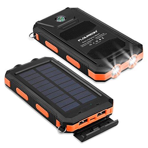 FLOUREON Solar Ladegerät Powerbank 10000mAh externes Akku Batterie Outdoor Wasserdicht mit Dual USB 2 LED-Lampen für iPhone Samsung iPad Android-Handy Tablet Smartphones usw (Orange)