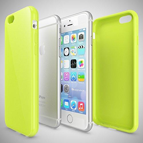 iPhone 6 Plus 6S Plus Hülle Handyhülle von NICA, Ultra-Slim TPU Silikon Jelly Case, Dünnes Cover Gummi Schutzhülle Skin, Handy-Tasche Backcover Bumper für Apple iPhone 6S Plus 6+ - Neon Grün Gelb Neon Grün Gelb