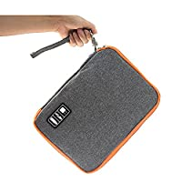 Waterproof Double layer-Electronic Travel Organiser,crayfomo Universal Cable Organiser Storage Bag/Electronics Accessories Carry Bag