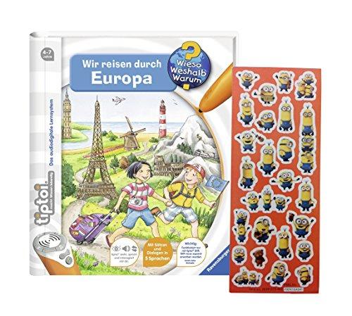 Preisvergleich Produktbild Ravensburger tiptoi ® Buch - Wir reisen durch Europa + Minions Sticker