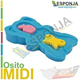 ESMUY (R) - Asiento baño bebes - Modelo MIDI color AZUL (47,5 X 27,5 X 7,5cm) - Esponja, Asiento, Colchoneta, Adaptador, Soporte para bañeras, duchas, bañeritas, grifo, cubo, fegadero, tina