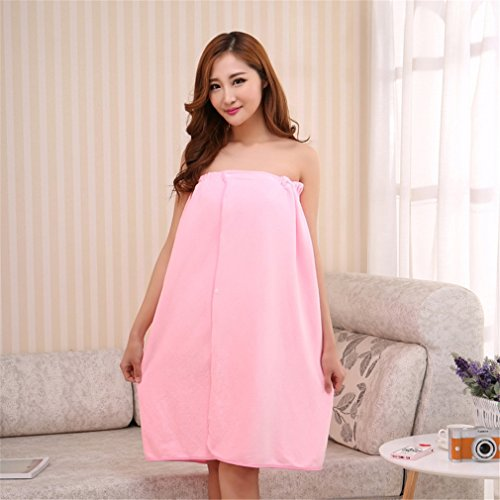 Frauen Badetuch Bademantel Bademantel Körper Spa Bad Bogen Wrap Handtuch Super Saugfähigen Badekleid Pink - Nickel Wand Bar