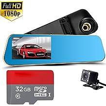 4,3pulgadas Espejo retrovisor 1080P Dash Cam de coche de doble lente cámara Black Box coche DVR doble cámaras dashcams coche grabadora de vídeo