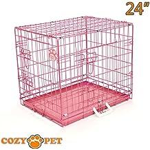 Cozy Pet - Jaula de transporte para perros, bandejas de metal, 5 tamaños y colores