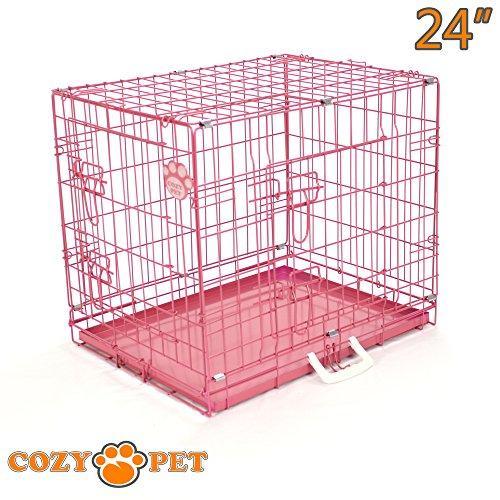 Cozy Pet Hundekäfig, Hochwertiger, Größe 61.5cm in Rosa, 2 Türen, Metallschale, Welpenkäfig, Faltbar Käfig, Transportkäfig für Hunde, Katzen, Welpen und Haustiere, Hundekiste, Hundekäfige - Artikel DC24P